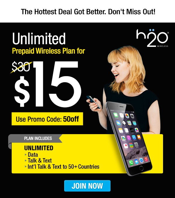 美国H2O手机卡 Unlimited Prepaid Wireless Plan for Only $15!